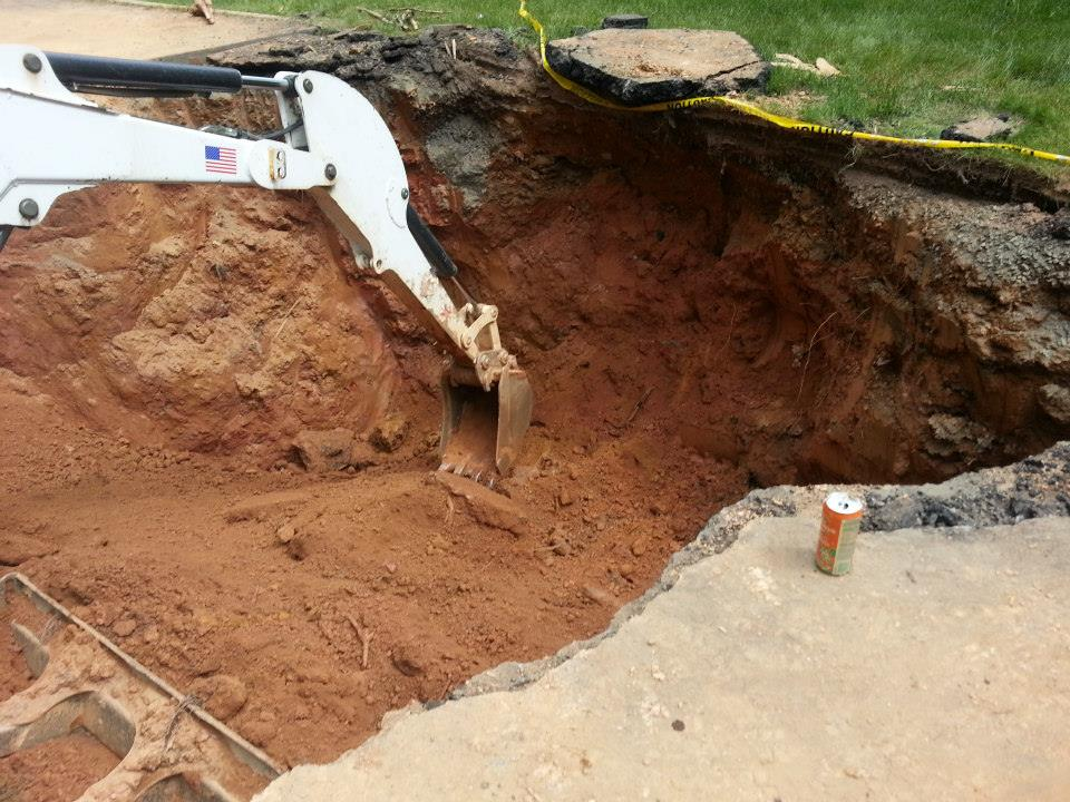Arlington VA Waterproofing company fixing sinkhole
