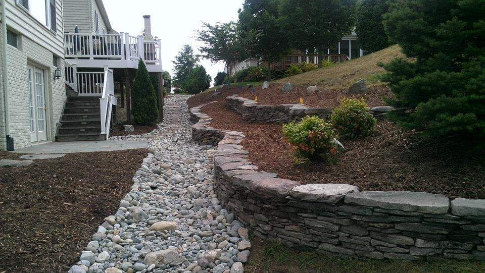 Walkway and retaining wall